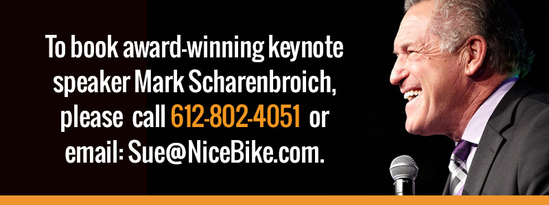 To book an award-winning keynote speaker, please call 612-802-4051 or contact the Nice Bike team today.